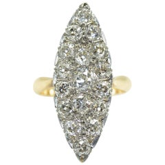 18 Karat Pink Gold and Platinum 2.20 Carat Diamonds French Antique Marquise Ring