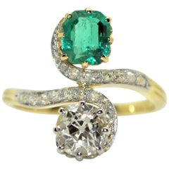 18 Karat Yellow Gold and Platinum Diamond and Emerald French Antique Ring