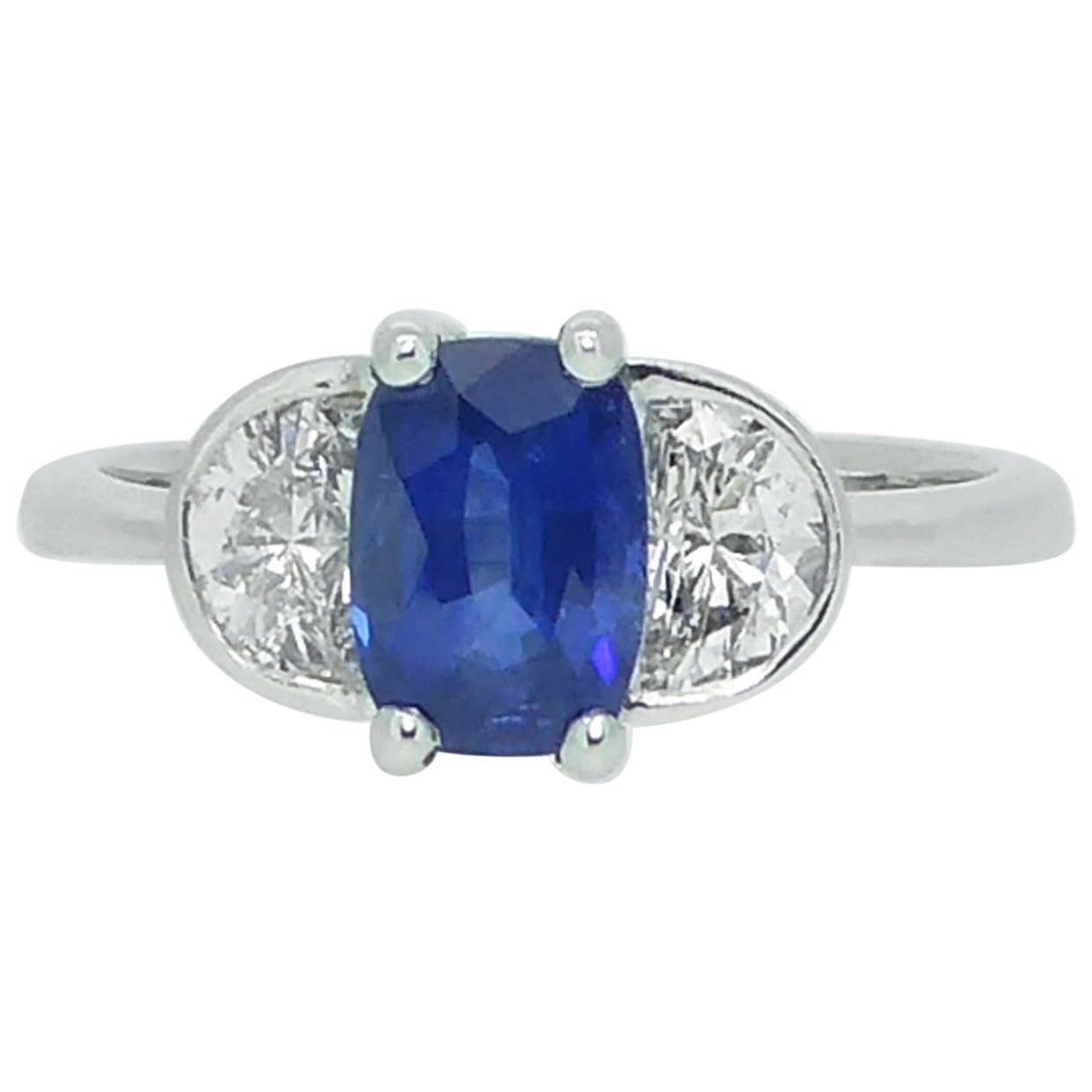 Modern 1.21 Carat Sapphire Ring, Half-Moon Diamonds 0.61 Carat, New and Unworn
