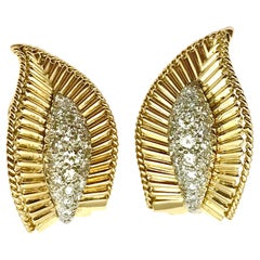 Pave Diamond and Yellow Gold Leaf Clip Earrings