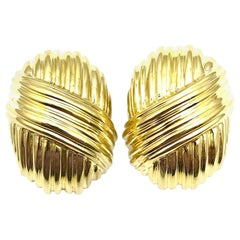 Oval 18 Karat Yellow Gold Textured Dome Button Clip Earrings