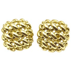 Suna Brothers Inc. 18 Karat Yellow Gold Square Basket Weave Button Earrings