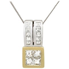 Contemporary 2000s 0.72 Carat Diamond and Yellow and White Gold Pendant