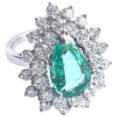 Pear Emerald and Diamonds Entourage 18 Karat White Gold Cocktail Ring