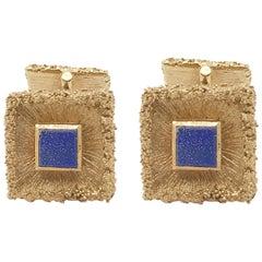 14 Karat Yellow Gold and Blue Lapis Cufflinks