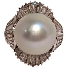 4.5 Carat Diamond and Large Round White South Sea Pearl 18 Karat White Gold Ring