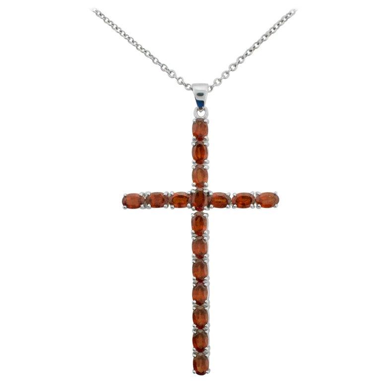 Rare Orange Garnet Cross Necklace 8.75 Carat in White Gold