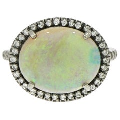 Oval Blue Opal and Diamond Ring