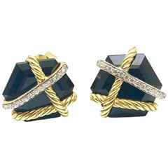 David Yurman Cable Wrap Earrings with Black Onyx and Diamonds in 18 Karat Gold