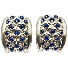 Andreoli Cabochon Sapphire and White Gold Clip or Post Earrings