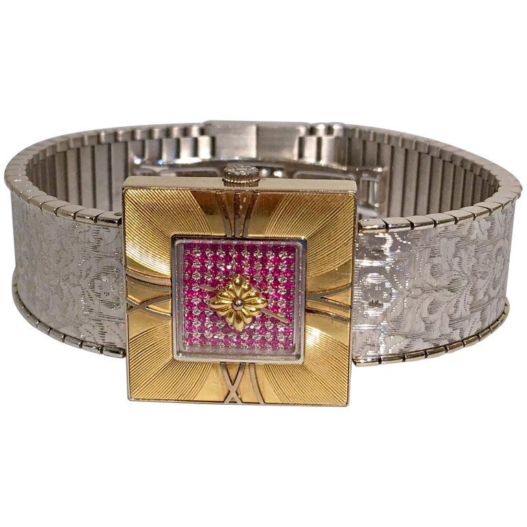 Buccellati Ladies Yellow and White Gold Ruby Agalmachron Quartz Wristwatch