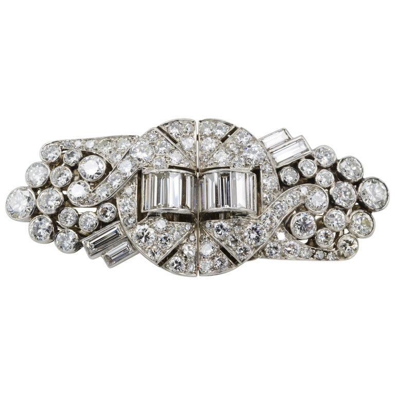 Art Deco Old Mine Cut and Baguette Diamond Double Clip Brooch