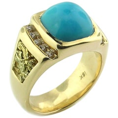 Kingman Mine Turquoise, Diamond and Gold Nugget 18 Karat Men's Ring