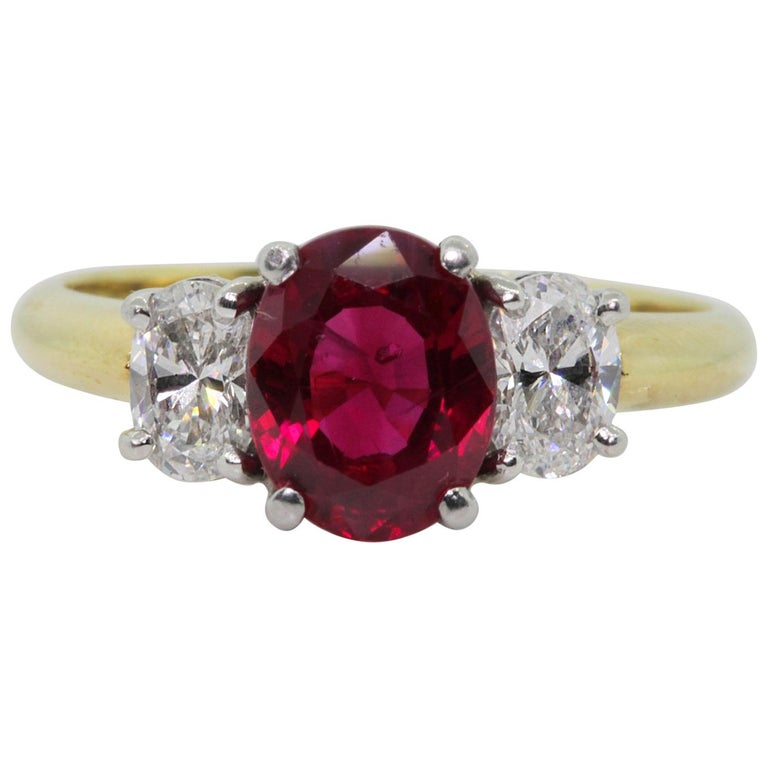 GIA Certified 2.41 Carat Burma Ruby Diamond Ring