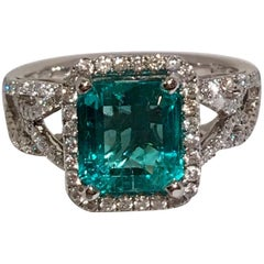 GIA Certified 1.8 Carat Columbian Emerald Diamond Halo White Gold Cocktail Ring