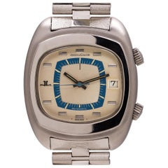 Jaeger-LeCoultre Stainless Steel TV Memovox Alarm self winding wristwatch, 1970s