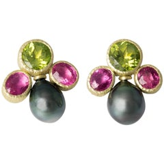 Peridot Tourmaline Tahitian Pearls Rubelities 18 Karat Gold Stud Earrings