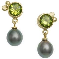 18 Karat Gold Peridot and Tahitian Pearls Drop Earrings