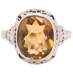 1930s Art Nouveau 5 Carat Citrine, 14 Karat White Gold Filigree Engagement Ring