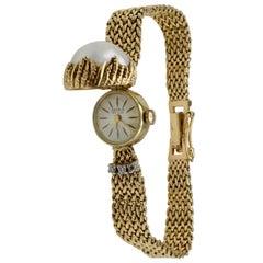 Ladies Yellow Gold Diamond Mabe Pearl Wristwatch, 1950s