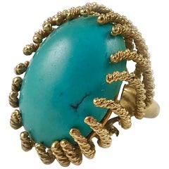 Gold Twisted Wire Turquoise Ring, Stamped David Webb
