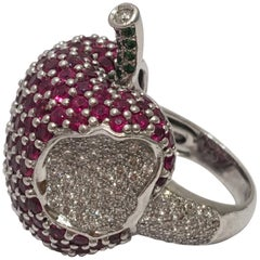 "Ruby Diamond 18 Karat White Gold ""Apple with Bite"" Cocktail Ring"