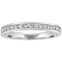 18 Karat White Gold Eternity Band Half Set with Princess Cut Diamonds