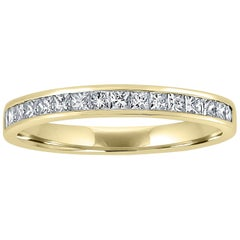 18 Karat Yellow Gold Eternity Band Half Set with Princess Cut Diamonds