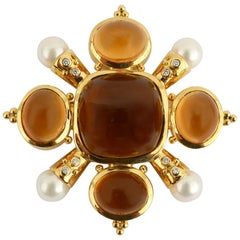 Citrine, Pearl and Diamond Brooch