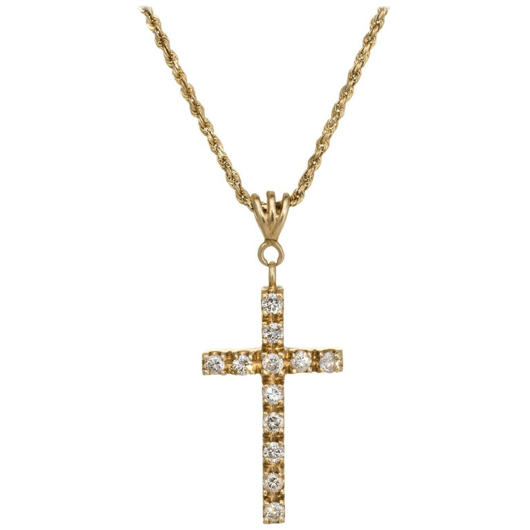 Diamond Religious Cross Pendant Necklace Vintage 14 Karat Yellow Gold