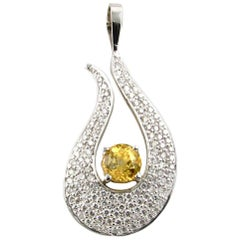 White Gold Pendant with 2.02 Carat Yellow Sapphire and Pave Accent Diamonds