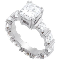 White Gold Ring with 2.02 Carat Diamond and 2.26 Carat in Accent Diamonds