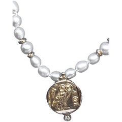 18 Karat Ancient Athena Owl Replica Pendant on Freshwater Pearl Necklace