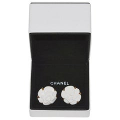 Chanel Gold and White Ceramic Camilla Ear Clips