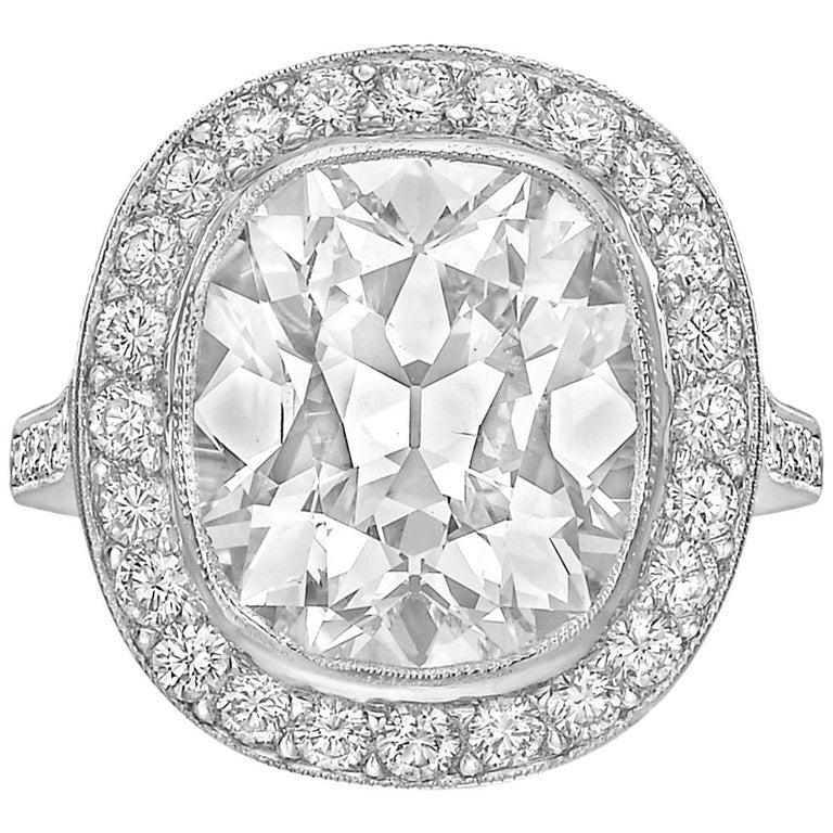 6.61 Carat Cushion-Cut Diamond Ring