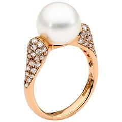 White South Sea Pearl and Diamond Ring in Rose Gold