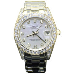 Rolex Midsize Pearlmaster 81158 MOP Diamond Dial Bezel & Lugs 18K Yellow Gold