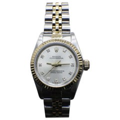 Rolex Ladies Oyster Perpetual 67193 Diamond Dial 18K Gold & Steel Box & Papers