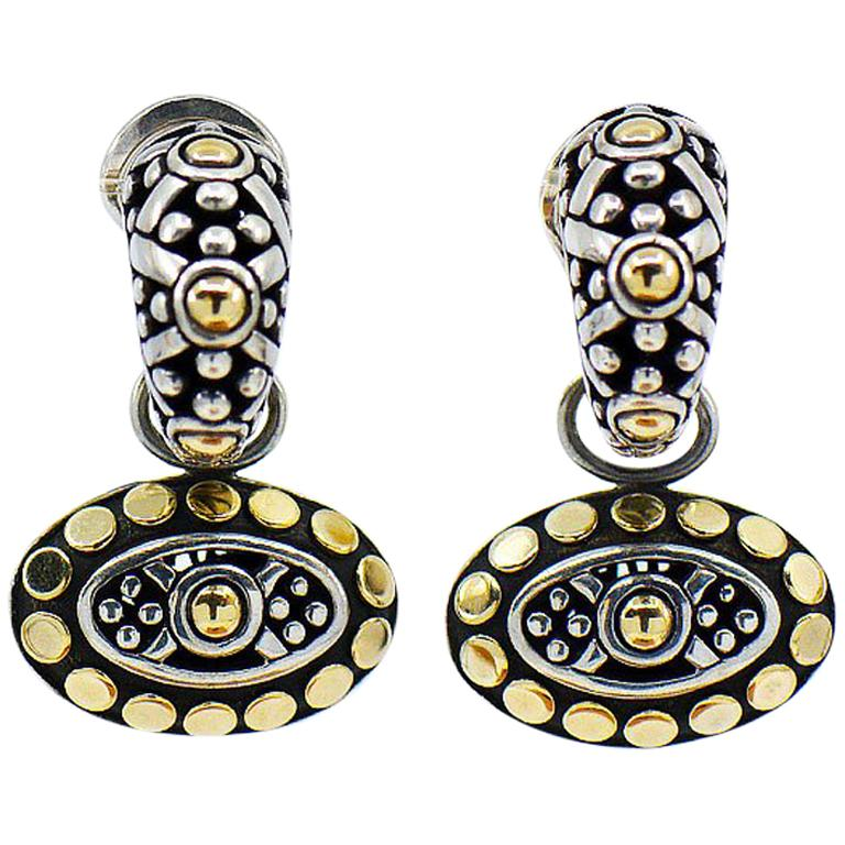 John Hardy Dot Collection Earrings, Sterling Silver and 18 Karat Yellow Gold