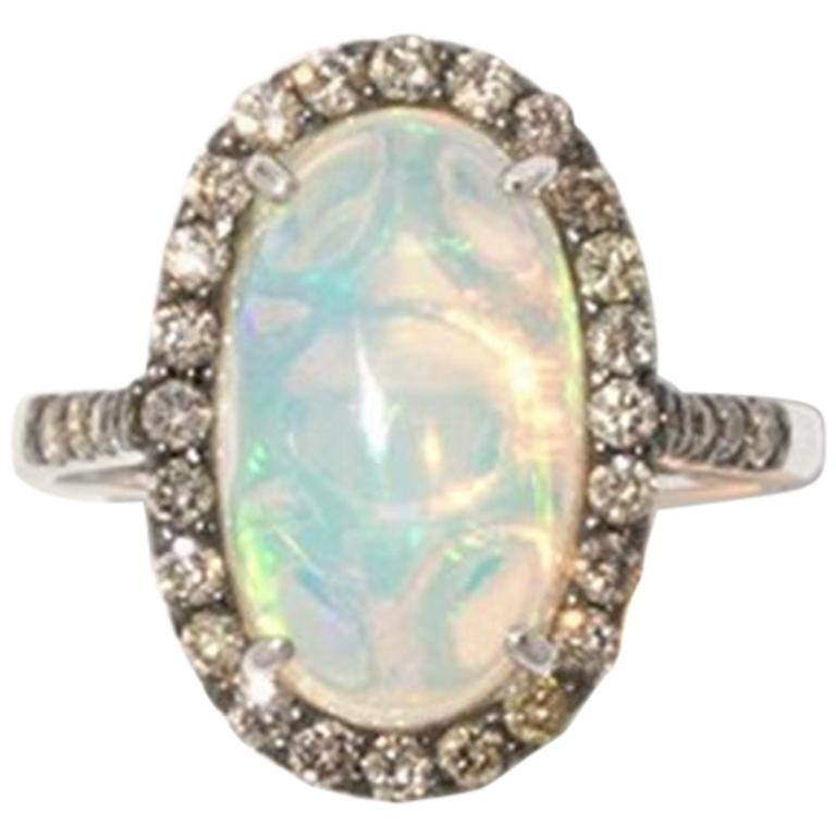 Brown Diamond Opal 18 Karat White Gold Cocktail Halo Ring For Sale