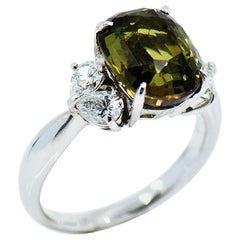 6.62 Carat Natural Alexandrite and Diamond Ring in Platinum with AGL Report