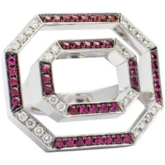 Contemporary Frohmann White Gold, Diamond and Ruby Aéré Cocktail, Ring