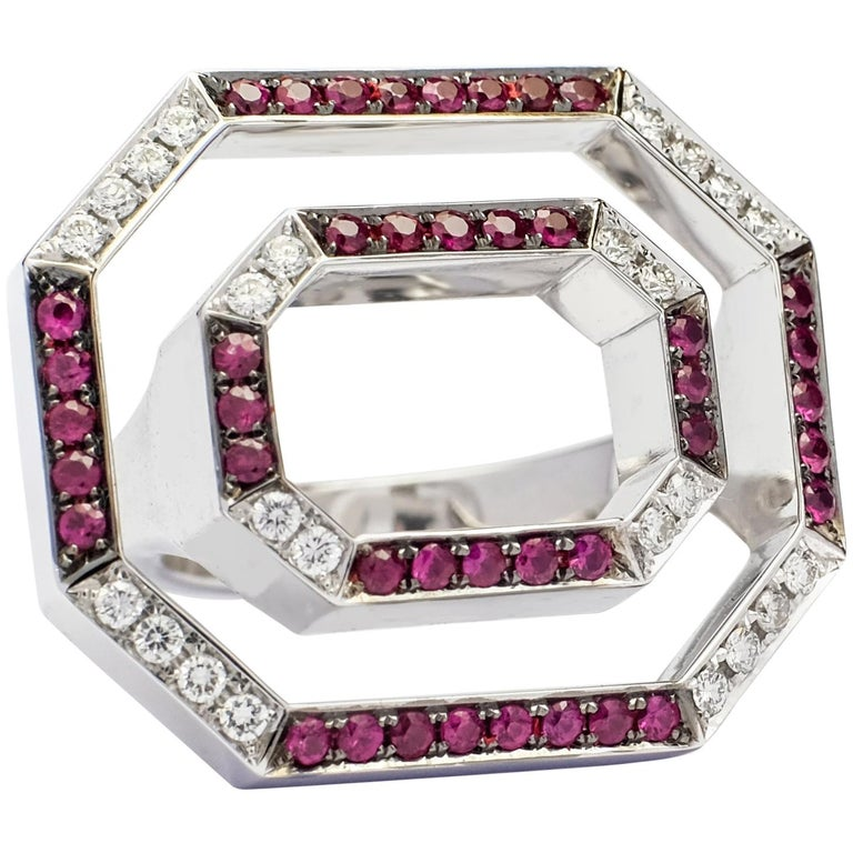 Contemporary Frohmann White Gold, Diamond and Ruby Aéré Cocktail, Ring For Sale