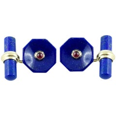 18 Karat Yellow Gold Lapis Lazuli and Ruby Cufflinks
