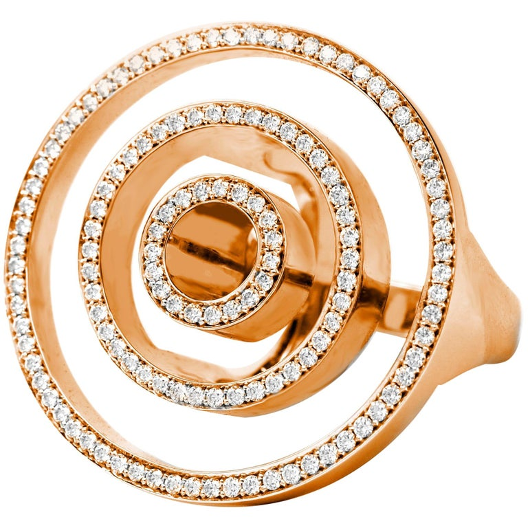 Contemporary Frohmann Rose Gold and Diamond Aéré Cocktail Ring