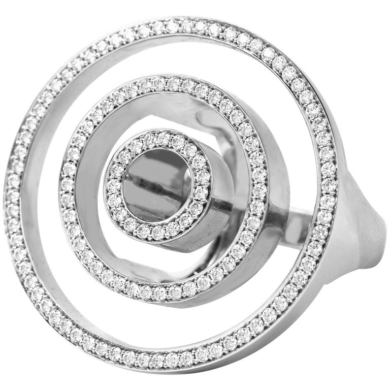 Contemporary Frohmann White Gold and Diamond Aéré Cocktail Ring