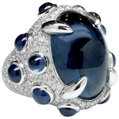 Frohmann 30.62 Carat Natural Cabouchon Sapphire White Gold with Diamonds Ring