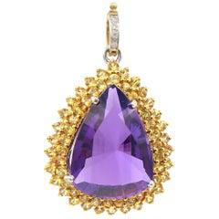 25.33 Carat Amethyst Drop Pendant Yellow Sapphire Diamond Gold