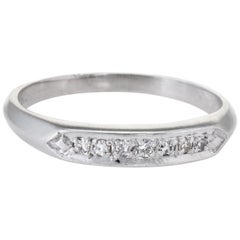 Antique Deco Platinum Diamond Wedding Band Ring Vintage