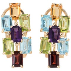 Rainbow Gemstone Earrings Vintage 14 Karat Yellow Gold Amethyst Peridot Citrine
